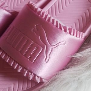 a86d4d4b5f Pink PUMA POPCAT silk Slides Sandals NWT
